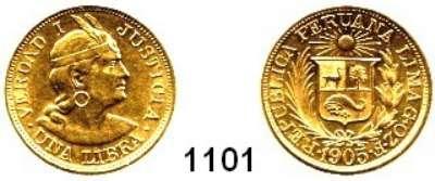AUSLÄNDISCHE MÜNZEN,Peru Republik seit 1822 1 Libra 1905.  (7,32g fein).  Schön 16.  KM 207.  Fb. 73.  GOLD