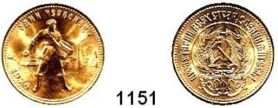 AUSLÄNDISCHE MÜNZEN,Russland Sowjetunion 1924 - 1991 10 Rubel Tscherwonez 1976.  (7,74g fein).  Parch. 287.  Schön 29.  Y. 85.  Fb. 181 a.  GOLD
