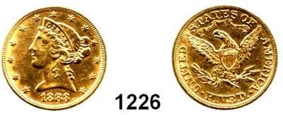 AUSLÄNDISCHE MÜNZEN,U S A  5 Dollars 1883.  (7,52g fein).  Kahnt/Schön 47.  KM 101.  Fb. 143,  GOLD