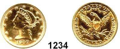 AUSLÄNDISCHE MÜNZEN,U S A  5 Dollars 1907 D.  (7,52g fein).  Schön 111.3  KM 101.  Fb. 147,  GOLD