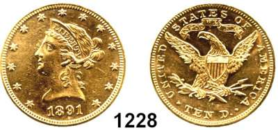 AUSLÄNDISCHE MÜNZEN,U S A  10 Dollars 1891.  (15,04g fein).  Kahnt/Schön 49.  KM 102.  Fb. 158,  GOLD