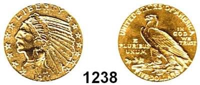 AUSLÄNDISCHE MÜNZEN,U S A  5 Dollars 1911 S.  (7,52g fein).  Schön 139.4  KM 129.  Fb. 150,  GOLD