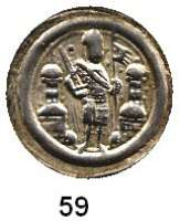 Deutsche Münzen und Medaillen,Brandenburg - Preußen Albrecht der Bär 1134 - 1170 Brakteat.  0,90 g.  Markgraf mit Schwert und Fahne steht halbrechts zwischen zwei Türmen.  Bahrf. 33.