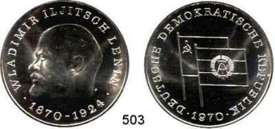 Deutsche Demokratische Republik,M E D A I L L E N  Feinsilbermedaille 1970.  100. Geburtstag von Wladimir Iljitsch Lenin.  40 mm.  21,89 g.