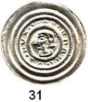Deutsche Münzen und Medaillen,Anhalt, Grafschaft Bernhard von Sachsen 1170 - 1212 Brakteat, Wittenberg.  0,76 g.  Kopf nach links.  Slg. Bonhoff 865.