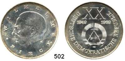 Deutsche Demokratische Republik,M E D A I L L E N  Feinsilbermedaillen 1969.  Wilhelm Pieck - XX Jahre DDR. 40 mm.  21,96 g.