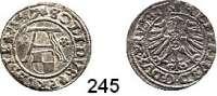 Deutsche Münzen und Medaillen,Preußen, Herzogtum Albrecht von Brandenburg (1511) 1525-1568 Schilling 1557.  1,09 g. Neumann 48.