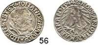 Deutsche Münzen und Medaillen,Brandenburg - Küstrin Johann von Küstrin 1535 - 1571 Groschen 1544, Crossen.  2,10 g.  Bahrfeldt 458.
