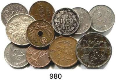 AUSLÄNDISCHE MÜNZEN,Finnland LOTS      LOTS       LOTS 1 Penni 1875, 1914; 5 Penniä 1942(Kupfer); 25 Penniä 1865(gering erhalten), 1917, 1921, 1939, 1940; 50 Penniä 1917, 1942 und 1 Markka 1944.  LOT 11 Stück.