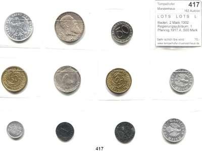 R E I C H S M Ü N Z E N,L O T S     L O T S     L O T S  Baden, 2 Mark 1902 Regierungsjubiläum; 1 Pfennig 1917 A; 500 Mark 1923 A;  50 Rentenpfennig 1924 A, J; 50 Reichspfennig 1938 J; 2 Reichsmark 1939 A; 1 Reichspfennig 1941 A; 5 Reichspfennig 1940 B; 50 Reichspfennig 1935 J, 1939 A.  Jg. 30, 300, 305, 310(2), 365, 366, 368, 369, 370, 372.  LOT 11 Stück.