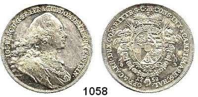 AUSLÄNDISCHE MÜNZEN,Liechtenstein Joseph Wenzel 1748 - 1772 1/2 Konventionstaler 1758, Wien.  14,03 g.  Divo 63.  Schön 4.