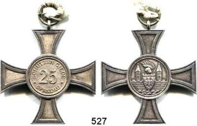 M E D A I L L E N,Schützen Spandau Silbernes Kreuz mit Öse o.J. der Schützengilde Spandau (bei Berlin).  Für 25 Jahre.  43 x 47 mm.  20,48 g.