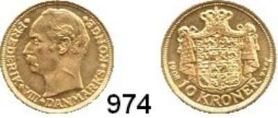 AUSLÄNDISCHE MÜNZEN,Dänemark Friedrich VIII. 1906 - 1912 10 Kronen 1908.  (4,03g fein).  Schön 17.  KM 809.  Fb. 298.  GOLD