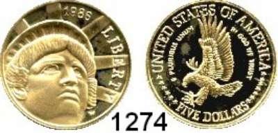 AUSLÄNDISCHE MÜNZEN,U S A  5 Dollars 1986 W.  (7,52g fein).  100 Jahre Freiheitsstatue.  Schön 215.  KM 215.  Fb. 197.  GOLD