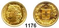 AUSLÄNDISCHE MÜNZEN,Schweiz Eidgenossenschaft 20 Franken 1883, Bern  (5,8g fein).  HMZ 1194.  Kahnt/Schön 19.  KM 31.1.  Fb.495.  GOLD