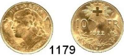 AUSLÄNDISCHE MÜNZEN,Schweiz Eidgenossenschaft 10 Franken 1922  (2,9g fein).  HMZ 1196.  Schön 33.  KM 36.  Fb. 504.  GOLD