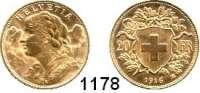 AUSLÄNDISCHE MÜNZEN,Schweiz Eidgenossenschaft 20 Franken 1916 B.  (5,8g fein).  HMZ 1195.  Schön 32.  KM 35.1.  Fb. 499.  GOLD