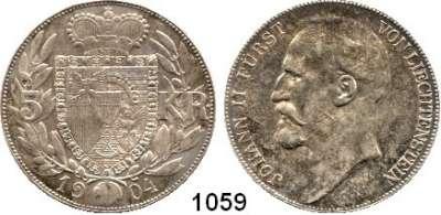AUSLÄNDISCHE MÜNZEN,Liechtenstein Johann II. 1858 - 1929 5 Kronen 1904, Wien.  HMZ 2-1376.  Schön 4.  KM 4.