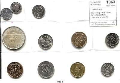 AUSLÄNDISCHE MÜNZEN,Luxemburg Charlotte 1919 - 1964 250 Frang 1963