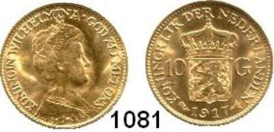 AUSLÄNDISCHE MÜNZEN,Niederlande Wilhelmina I. 1890 - 1948 10 Gulden 1917 (6,05g fein).  Schulman 748.  Schön 42.  KM 149.  Fb. 349. GOLD.