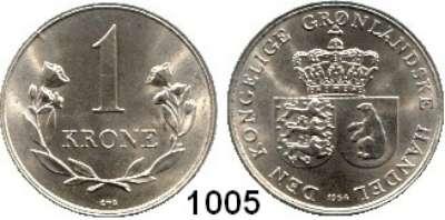 AUSLÄNDISCHE MÜNZEN,Grönland Friedrich IX. 1947 - 1972 1 Krone 1964.  Schön 6 a.  KM 10.