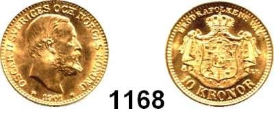 AUSLÄNDISCHE MÜNZEN,Schweden Oskar II. 1872 - 1907 10 Kronen 1901 (4,03g fein).  Schön 9.  KM 767.  Fb. 94 b.  GOLD