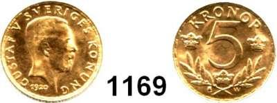 AUSLÄNDISCHE MÜNZEN,Schweden Gustav V. 1907 - 1950 5 Kronen 1920  (2,17g fein).  Sieg 85.  Schön 34.  KM 797.  Fb. 97.  GOLD