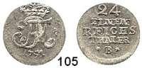 Deutsche Münzen und Medaillen,Preußen, Königreich Friedrich II. der Große 1740 - 1786 1/24 Taler 1751 B Breslau. 1,75 g.  Kluge 175.1.  v.S. 716.  Olding 158 a.