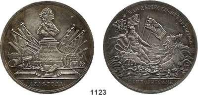 AUSLÄNDISCHE MÜNZEN,Russland Peter I. der Große 1689 - 1725 Weißmetall Medaille 1716 (S. Judin, spätere Prägung).  Auf das Kommando des Zaren über das Manöver der vier alliierten Flotten (Rußland, Dänemark, England, Holland) bei der dänischen Insel Bornholm.  55 mm.  57 g.