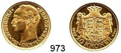 AUSLÄNDISCHE MÜNZEN,Dänemark Friedrich VIII. 1906 - 1912 20 Kronen 1908.  (8,06g FEIN).  Sieg 2-H 1.  Schön 18.  KM 810.  Fb. 297.  GOLD