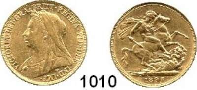 AUSLÄNDISCHE MÜNZEN,Großbritannien Viktoria 1837 - 1901 Sovereign 1896.  (7,32g fein).  Spink 3874.  Kahnt/Schön 147.  KM 785.  Fb. 396.  GOLD
