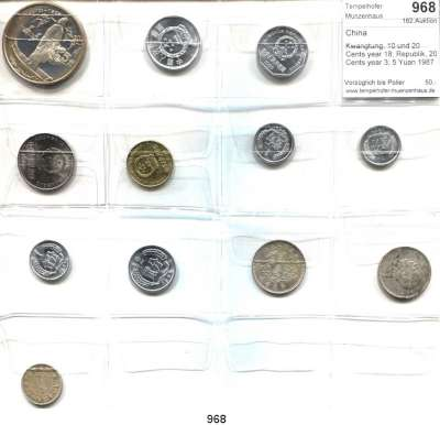 AUSLÄNDISCHE MÜNZEN,China L O T S     L O T S     L O T S Kwangtung, 10 und 20 Cents year 18; Republik, 20 Cents year 3; 5 Yuan 1987(PP) und 8 moderne Kleinmünzen.  LOT 12 Stück.