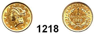 AUSLÄNDISCHE MÜNZEN,U S A  1 Dollar 1852.  (1,5g fein).  Kahnt/Schön 37.  KM 73.  Fb. 84.  GOLD