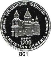 AUSLÄNDISCHE MÜNZEN,Armenien  1000 Dram 1998.  1700. Jahrestag der Christianisierung Armeniens.  Schön 32.  KM 83.  Im Holzetui mit Zertifikat.