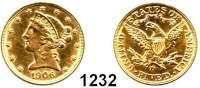 AUSLÄNDISCHE MÜNZEN,U S A  5 Dollars 1906 D.  (7,52g fein).  Schön 111.3.  KM 101.  Fb. 147.  GOLD