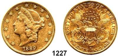 AUSLÄNDISCHE MÜNZEN,U S A  20 Dollars 1889 S.  (30,09g fein).  Kahnt/Schön 52.  KM 74.3.  Fb. 178.  GOLD
