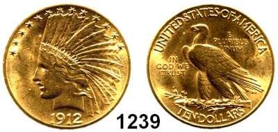 AUSLÄNDISCHE MÜNZEN,U S A  10 Dollars 1912.  (15.04g fein).  Schön 141.4.  KM 130.  Fb. 166.  GOLD
