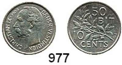 AUSLÄNDISCHE MÜNZEN,Dänisch Westindien Christian IX. 1863 - 1906 10 Cents 1905 = 50 Bit 1905.  Schön 5.  KM 78.