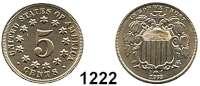 AUSLÄNDISCHE MÜNZEN,U S A  5 Cents 1868.  Kahnt/Schön 63.  KM 97.