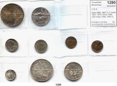 AUSLÄNDISCHE MÜNZEN,U S A L O T S     L O T S     L O T S Cent 1883, 1947 D; 5 Cents 1907, 1913; Dime 1945; Half Dollar 1944; 1963 D; Dollar 1887 und 1923.  LOT 9 Stück.
