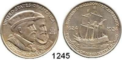 AUSLÄNDISCHE MÜNZEN,U S A  Gedenk Half Dollar 1924.  Huguenot-Walloon.  Schön 158.  KM 154.
