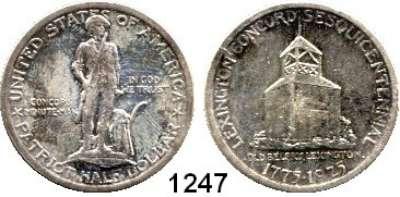 AUSLÄNDISCHE MÜNZEN,U S A  Gedenk Half Dollar 1925.  Lexington-Concord.  Schön 159.  KM 156.