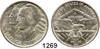 AUSLÄNDISCHE MÜNZEN,U S A  Gedenk Half Dollar 1937 S.  100 Jahre Arkansas.  Schön 173.  KM 168.