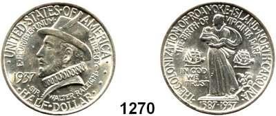 AUSLÄNDISCHE MÜNZEN,U S A  Gedenk Half Dollar 1937.  350 Jahre Roanoke Island (North Carolina).  Schön 193.  KM 186.