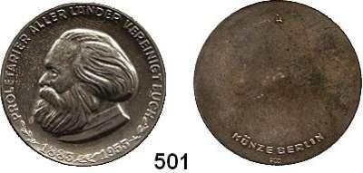 Deutsche Demokratische Republik,M E D A I L L E N  Einseitige Silbermedaille der Münze Berlin 1953 (900).  70. Todestag von Karl Marx.  Kopf nach links. /