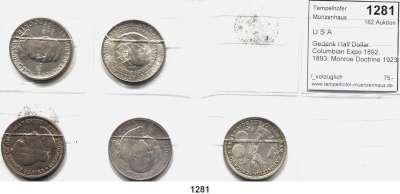 AUSLÄNDISCHE MÜNZEN,U S A L O T S     L O T S     L O T S Gedenk Half Dollar.  Columbian Expo 1892, 1893; Monroe Doctrine 1923 S; Booker T. Washington 1946 und Washington/Carver 1953 S.  LOT 5 Stück.