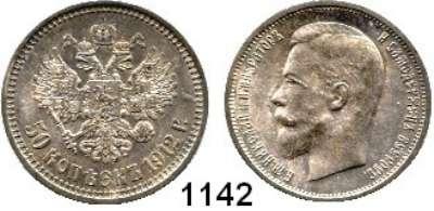 AUSLÄNDISCHE MÜNZEN,Russland Nikolaus II. 1894 - 1917 50 Kopeken 1912.  Bitkin 91.  Schön 12.  Y. 58.2.