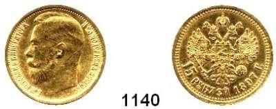 AUSLÄNDISCHE MÜNZEN,Russland Nikolaus II. 1894 - 1917 15 Rubel 1897, Sankt Petersburg.  (11,61 g fein).  Zwei Buchstaben unter dem Halsabschnitt.  Bitkin 1.  Schön 17.  Y 65.  Fb. 177.  GOLD.