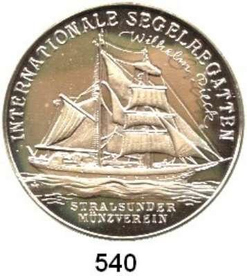 M E D A I L L E N,Schiffsmotive / Schiffsfahrt  Silbermedaille 1991 (Helmut König).  Internationale Segelwoche 1991 in Rostock.  Segelschulschiff