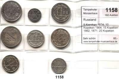 AUSLÄNDISCHE MÜNZEN,Russland LOTS   LOTS   LOTS 5 Kopeken 1874; 10 Kopeken 1864; 15 Kopeken 1862, 1871; 20 Kopeken 1861, 1865; 25 kopeken 1877(2).  LOT 8 Silbermünzen.